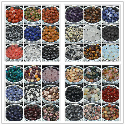 DIY Natural Gemstone Round Spacer Loose Stone Beads 4/6/8/10MM Jewelry Making