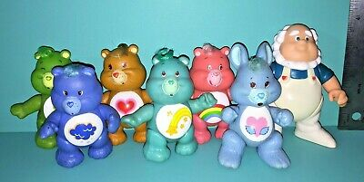 Vintage Care Bears & Cousin 7 PVC Poseable Figures Lot Grumpy Cheer Kenner 1980s