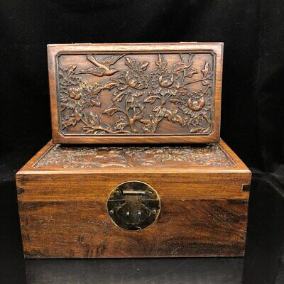 "12"" Chinese old antique huanghuali wood handcarved flowers and bird Box A set"