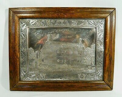 Antique Silver Plaque Picture OLDEST HOUSE IN AMERICA Folk Art 163 CRADOCK HOUSE