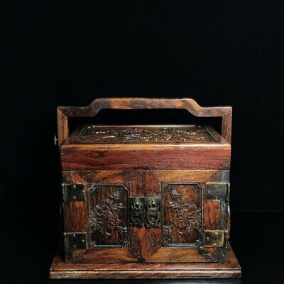 "11"" Chinese old antique huanghuali wood handcarved flowers Jewelry box"