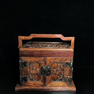 """11"""" Chinese old antique huanghuali wood handcarved elephant foot Box statue"""