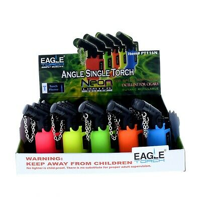 20 Count Wind Proof EAGLE NEON Color TORCH 45 Degree Lighters Outdoor Cigarette