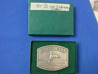 John Deere 1985 Quality Farm Equipment belt buckle of 1950 JD Trademark lot 11