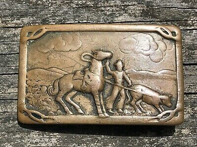 Vintage Copper Belt Buckle Horse Cowboy Calf Roping Belt Buckle Rodeo