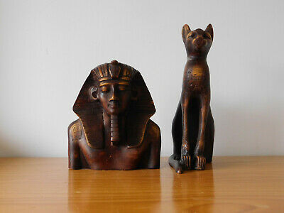 c.20th - Large Set Vintage Resin Egypt Egyptian Pharaoh Bust & Cat Statue