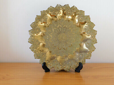 c.19th - Antique Vintage Islamic Persian Damascene Solid Brass Plate Tray