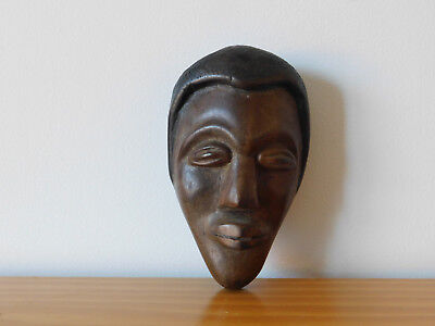 c.19th - Antique African Africa Wood Wooden Male Wall Mask
