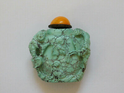 c.19th - Antique Chinese China Turquoise Stone Hand Carved Snuff Bottle - Qing