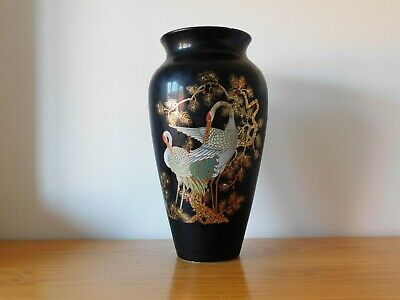 c.20th - Tall vintage Italian black porcelain vase in Japanese style