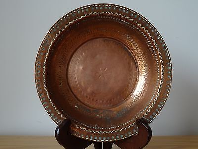 c.19th - Antique Persian Middle Eastern Tinned Copper Plate Dish Bowl