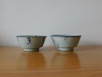c.18th - Antique Chinese Blue & White Porcelain Bowl Qing - Pair