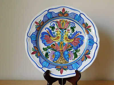 Vintage Spain Spanish Multicolor Hand Painted Faience Majolica Peacock Plate