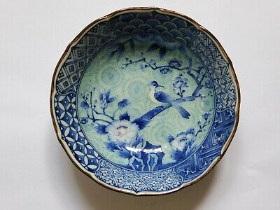 c.20th - Vintage Japanese Arita Blue & White Export Porcelain Bowl