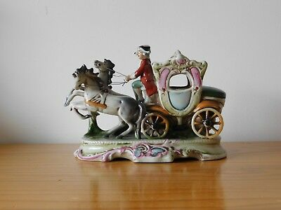 c.19th - Antique German GDR Porcelain Horse Carriage Figure Figurine