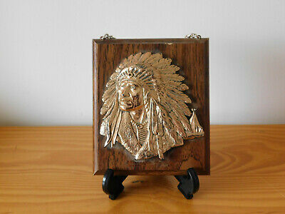 c.20th - Vintage Native American Style Wooden Copper Wall Plaque