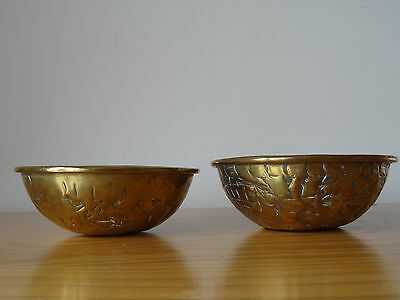 c.19th - Antique Persian Middle Eastern Tinned Brass Bowl Pair Set