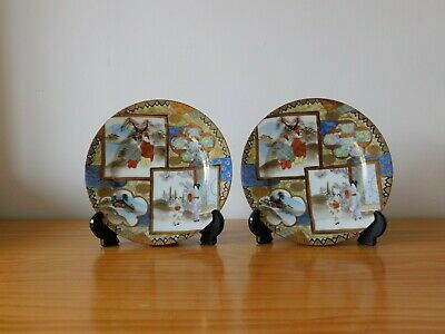 c.19th - Antique Japanese Japan Kutani Meiji Period Porcelain Plate x 2
