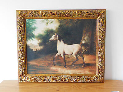 c.20th - Vintage British Horse Print in Antique Style in Wooden Frame