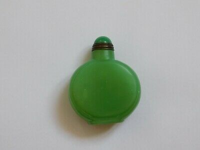 c.19th - Antique Chinese China Green Jade Stone Hand Carved Snuff Bottle - Qing