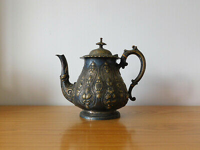 c.18th - Antique British English Monogrammed Silver Plated Teapot