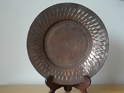 c.18th - Antique Persian Middle Eastern Tinned Copper Plate Charger