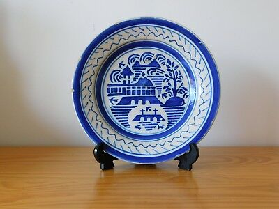 c.18th - Antique Spain Spanish Blue & White Chinese Style Faience Majolica Plate