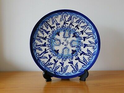 c.20th - Vintage Spain Spanish Blue & White Majolica Plate Charger