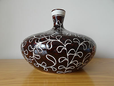 Vintage British Large Glazed Ceramic Pottery Porcelain Brown Flat Vase
