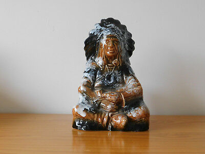 c.20th - Vintage Glazed Pottery Figure Holder - Native American