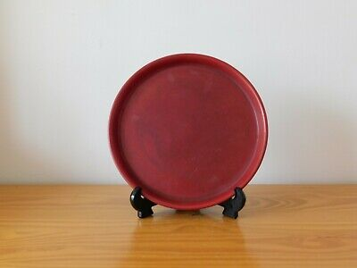Antique Chinese Dragon Red Monochrome Porcelain Plate Dish - Chenghua Mark