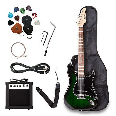 39 inch Electric Guitar Green Full Size w/Case,15w AMP, Strings, Strap & Pick