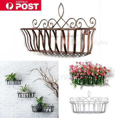 Wrought Iron Wall Mounted Planter Flower Basket Holder Storage Home Organizer H