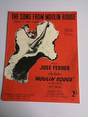 Moulin Rouge - Where Is Your Heart Vintage Sheet Music Ephemera Decoupage Craft