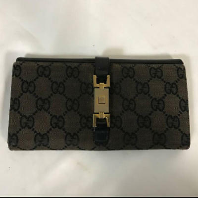 8ad63366faef Authentic GUCCI Long Folded WALLET Genuine leather GG pattern canvas black  men's