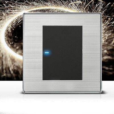 LED Wall Light Switch 2 way 1 Gang Brushed Stainless Steel Modern Silver Silver