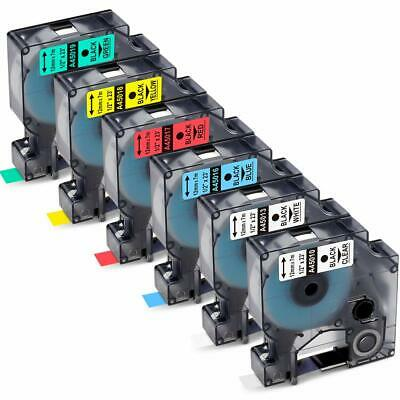 6x Compatible with Dymo D1 45010 45013 45016 45017 45018 45019 Label Tape 1/2""