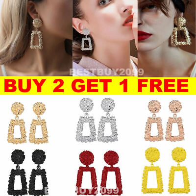 Fashion Punk Jewelry Geometric Dangle Drop Earrings Metal Statement Big Crystal