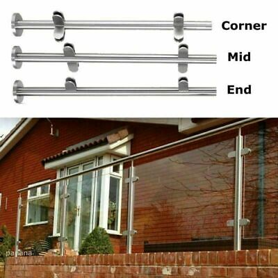 Stainless Steel Balustrade Posts Mid / Corner / End Grade Glass Clamps with Base