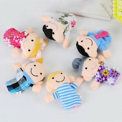 6Pcs Family Finger Puppets Set Plush Cloth Doll Baby Kids Play Game Toy Gift