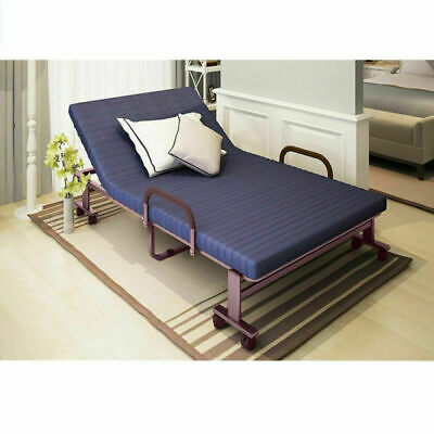 Folding 3FT Metal Fold up Bed Guest Compact Beds Adjustable with Mattress Blue