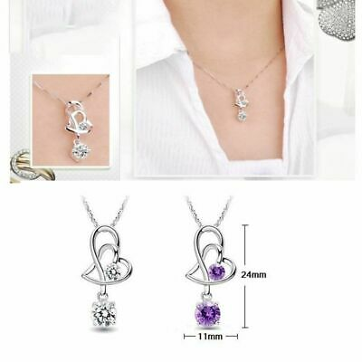 Delicate Elegant Forever Love Heart to Heart Necklace Crystal CZ Gems Pendant