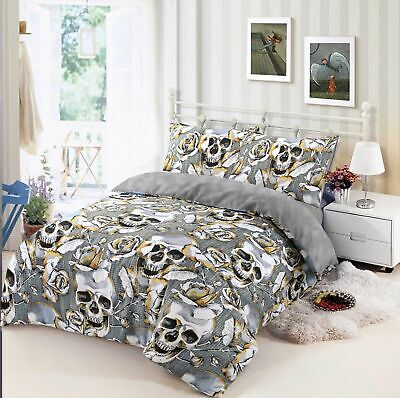 Rose Skull Duvet Cover Gothic Quilt Cover Bed 100%Cotton Rich Single Double King