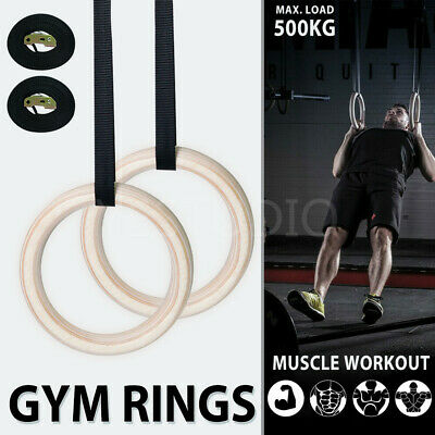 Wooden Gym Rings Crossfit Gymnastic Olympic Yoga Fitness With Cam Buckle Straps