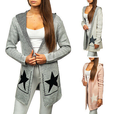 the best attitude 059a9 c0946 CARDIGAN STRICKJACKE PULLOVER Strickpullover Sweater Kapuze Damen BOLF E5E  Motiv