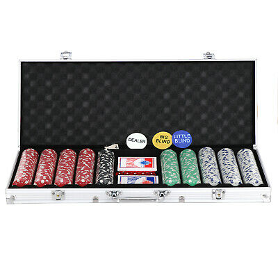 Poker Chip Set 500 Chips 5 Dices Texas Hold'em Cards W/Silver Aluminum Case