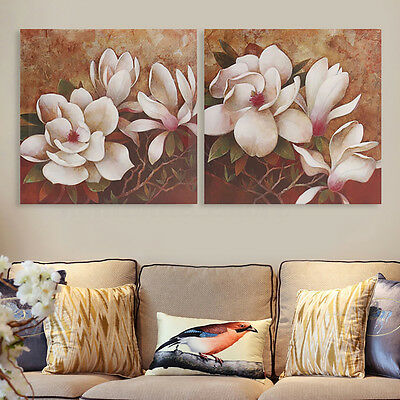 2Pcs Framed Art Flower Brown Canvas Print Oil Painting Picture Home Wall