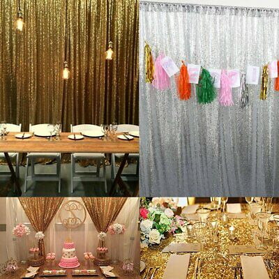 2 Panels Shimmer Sequin Curtain Potography Backdrop Home Party Decor
