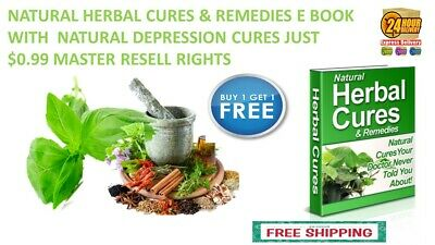 Natural Herbal Cures & Remedies E Book With  Natural Depression  Cures $0.99