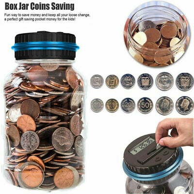 Coin Digital LCD Counter Electric Money Saving Collecting Jar Piggy Bank Battery